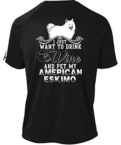 Papaya Tee Pet My American Eskimo Dry Zone Crew, I Just Want to Drink Wine T Shirt-Colorblock Crew (S, -