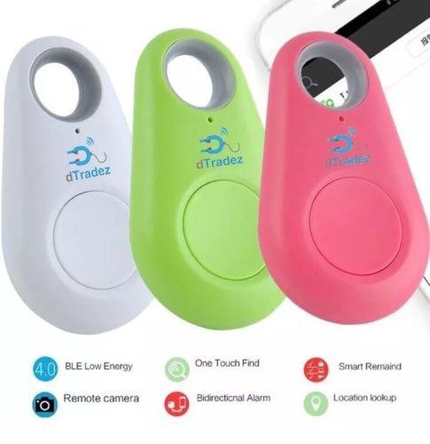 dTradez 2 Pack Set Smart Finder Bluetooth Locator Pet Tracker Alarm Sensor Remote Selfie Shutter Seeker for Kids Bag Wallet Keys Car SmartPhone [Random Colors]