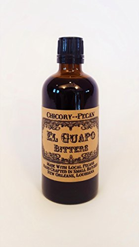 "El Guapo Chicory-Pecan Bitters - coffee & nut flavors with aromatic spices 100mL/3.4 fl. oz 1 Winner: 2018 Good Food Award Winner: 2016 Southern Living Food Award As featured in Garden & Gun, Food Republic, Coastal Living, Cheers Magazine, Esquire, Eater, Vinepair & Supercall. Esquire Magazine's #1 Gift For Coffee Lovers - 2018 Instantly upgrade any rum or bourbon cocktail with a few drops of this addictive elixir, made with Louisiana pecans & locally roasted chicory coffee."" - Coastal Living"