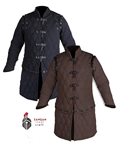 Thick Padded Medieval Gambeson Jacket COSTUMES DRESS SCA (LARGE, BLACK) ()