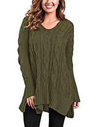 Women's V Neck Loose Fit Knit Sweater Casual Pullover Top