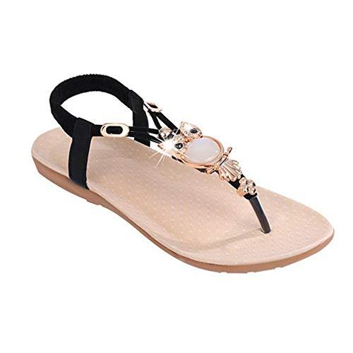pour Plage lanière Chaussures Noir Toe T Sandales Douces Rond Bout Bohemia de Strass Femme en été YOUJIA Perles Clip HqCRpxw5x