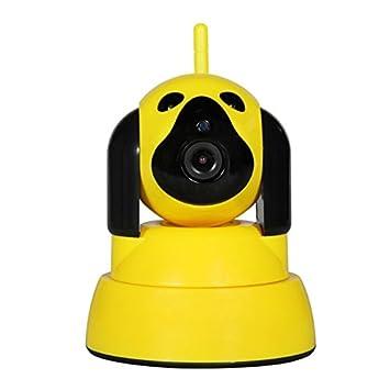 Cámara de vigilancia amarilla con forma de perro muy útil para vigilar niños en el cuarto
