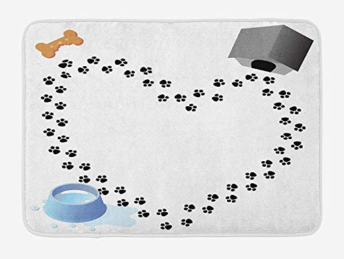 (CoraBest Dog Lover Bath Mat, Puppy Love Heart Shaped Trail of Paw Prints Bone Kennel Water Drops, Plush Bathroom Decor Mat with Non Slip Backing, 16 W X 24 W Inches, Grey Black White Blue)
