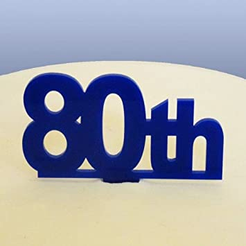 80th Birthday Cake Topper Blue Amazoncouk Kitchen Home