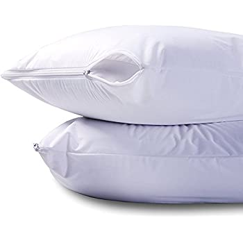 waterproof zippered pillow encasement bed bug proof pillow cover protects against dust mite bacteria - Bed Bug Protector