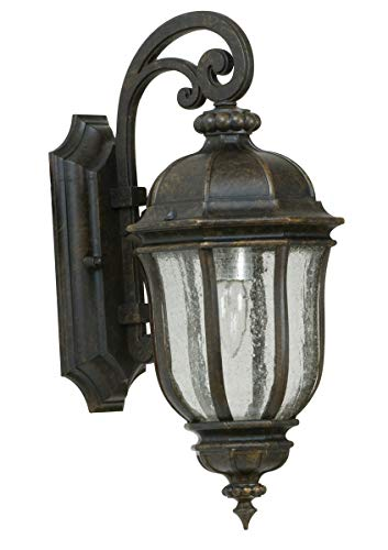 "Wall Sconces 1 Light Fixtures with Peruvian Bronze Finish Die Cast Aluminum Material Medium 8"" 60 Watts"