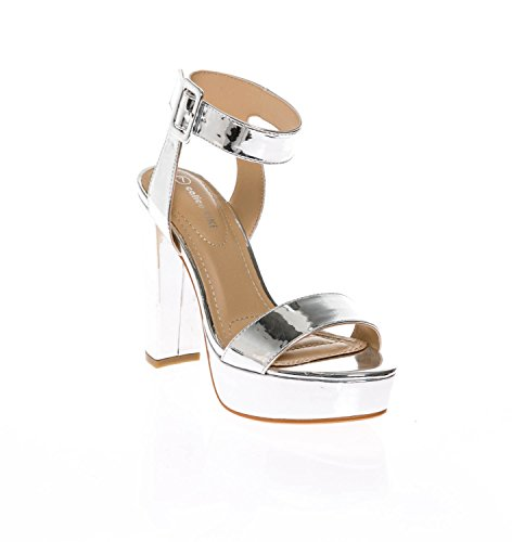 (CALICO KIKI Women's Shoes Buckle Ankle Strap Open Toe Chunky High Heel Platform Dress Sandals (10 US, Silver_MET))