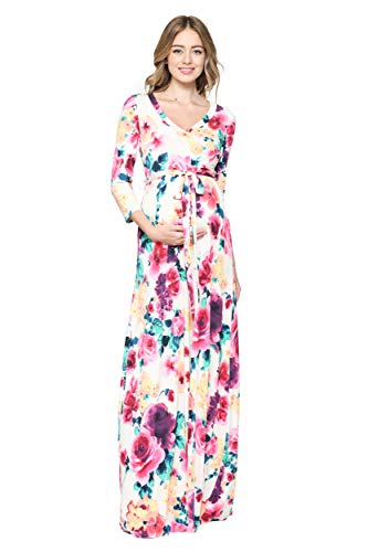 Hello MIZ Women's Faux Wrap Maxi Maternity Dress with Belt - Made in USA (Ivory Multi, L)