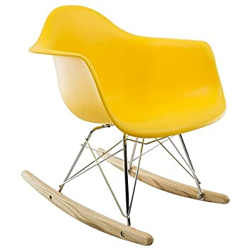 Promo 1 Rocking Chair Chaise Bascule ENFANT Pieds Bois Clair Assise Jaune MobistylRMC