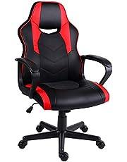 Hadwin Spelstol blå, racing sport svängbar skrivbordsstol, PC läder kontorsstol med vadderade armstöd och ergonomisk design datorstol för vuxna och barn