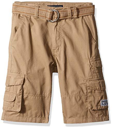 U.S. Polo Assn. Boys' Big Belted Cargo Short, Dark Khaki 10