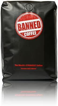 Banned Coffee Whole Bean World's Strongest Coffee - Super Strong Caffeine Content - Our Best Flavor Medium Dark Roast (Whole Bean, 2 lb)