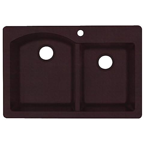 Swanstone QZDB-3322.170 Drop in Double Bowl Kitchen Sink, 33-Inch x 22-Inch, Espresso (Brown Granite Kitchen Sinks)