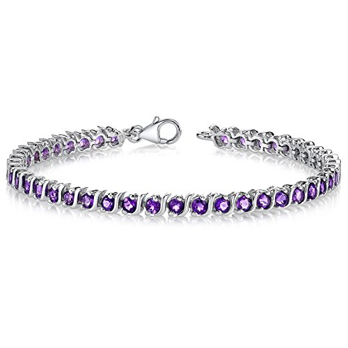 Amethyst Tennis Bracelet Sterling Silver 4.25 Carats S Style - Genuine Amethyst Tennis Bracelet