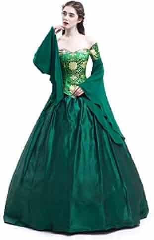 47f20cf592 D-RoseBlooming Green Vintage Renaissance Wedding Dress Gothic Victorian Era Ball  Gowns
