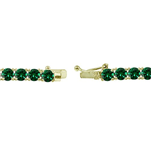 Yellow Gold Flashed Sterling Silver 4mm Simulated Emerald Round-cut Tennis Bracelet by GemStar USA (Image #1)