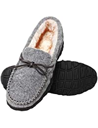 Mens Indoor Outdoor Comfortable Warm Moccasin Slippers with Anti Slip Rubber Sole Driving Loafer Slip-on Shoes...