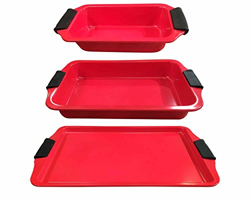 TI Perfect Grip 3pc Bakeware Set Red
