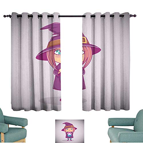 Warm Family Breathable Curtain Halloween Little Witch Girl Kid with Angry face in Halloween Costume with Cauldron Vector Illustration Set of Two (Sari Halloween Costumes)
