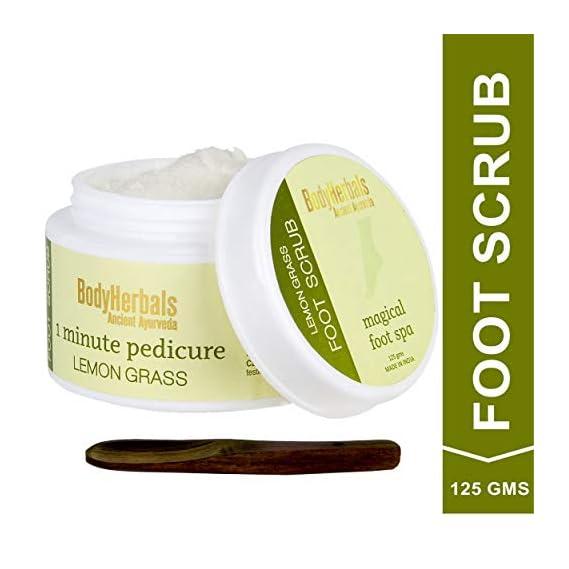 BodyHerbals 1 minute Pedicure De -Tan - Cracked Heel Remover Lemongrass Walnut Foot Scrub I Paraben & SLS Free(125 gms)