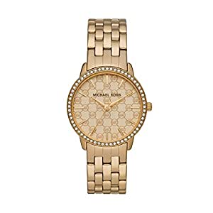 Michael Kors Glitz Women's Gold Dial Stainless Steel Band Watch - MK3120