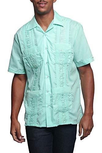 Men's Guayabera Premium Lightweight Embroidered Pleated Cuban Shirt - Omega - Aqua - ()