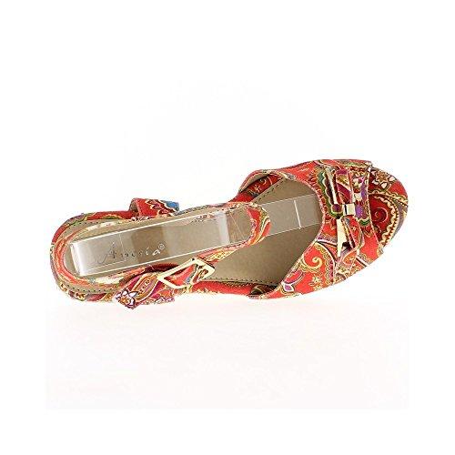 Comfort Cuneo rosso sandali a tacco cm 5