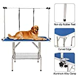Gelinzon Professional Foldable Pet Dog Grooming Table with Adjustable Arm and Updated Noose for Dogs Pets Cats, Maximum Capacity Up to 250lbs, 46''