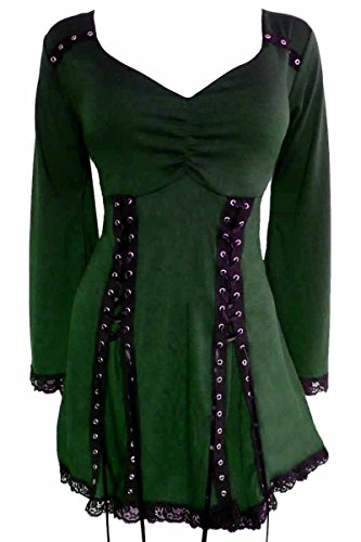 Dare to Wear Electra Corset Top: Victorian Gothic Steampunk Plus Size Women's Shirt for Everyday Halloween Cosplay Festivals, Envy -