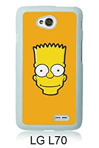 Beautiful And Unique Designed Case For LG L70 With Aj Bart Face Art Illust Yellow Simpsons Minimal Simple white Phone Case