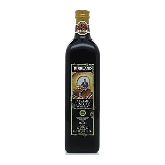 Kirkland Signature Aged Balsamic Vinegar 1-liter (33.8 Fl Oz.) 1 Kirkland Signature Aged Balsamic Vinegar - 1-Liter Size. 1 liter (33.8 fl oz.) Aged in oak casks for full-bodied flavor.