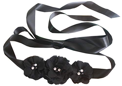 Bridesmaid and Flowergirls sashes wedding sash pearls flowers belts (Black)