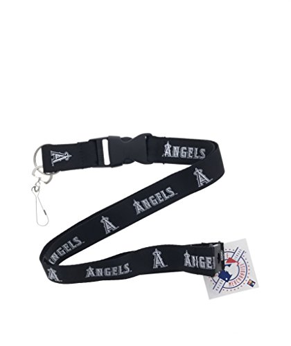 PSG INC Genuine Authentic Licensed Baseball Sports Black Lanyard White Team Name and Logo with Clip (LA Angels)