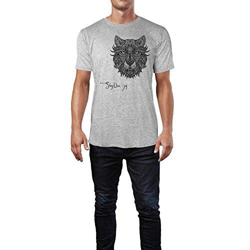 SINUS ART ® Löwenkopf im Ethno Look Herren T-Shirts in hellgrau Fun Shirt  mit ...