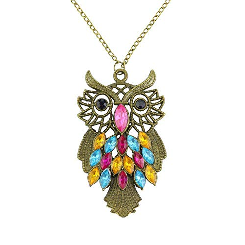 CHOP MALL Jewelry Colorful Crystal Owl Bird Love Bronze Pendant Necklace for Women Girls Lady