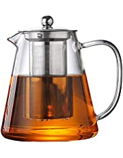 Glass Teapot with Stainless Steel Infuser,for Blooming Tea,Loose Tea, (43oz,1.3L) Holds 4-6 Cups,JOYEUX Glass Tea Pot Set, Stovetop & Dishwasher Safe