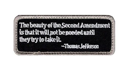 The Beauty of The 2nd Amendment Thomas Jefferson Hook Fastener Patch (3.75 X 1.5-TJP-6) (Thomas Jefferson Patch)