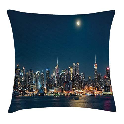 MISYRC Urban Throw Pillow Cushion Cover, Moon Night Sky Manhattan Above...
