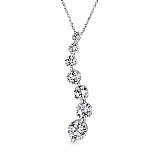 2.5CT Solitaire Round Cubic Zirconia AAA CZ Love Is A Journey Pendant Necklace For Women For Wife 925 Sterling Silver ()