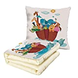 iPrint Quilt Dual-Use Pillow Religious Colorful Ark Ship with Set of Animals Old Ancient Religious Myths Artwork Print Multifunctional Air-Conditioning Quilt Multicolor
