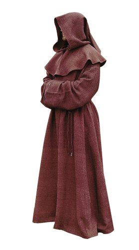 [Brown Monk Robe and Hood Costume. Wizard Robe, Priest Robe, Mage Robe,One size] (Brown Monk Robe Costume)