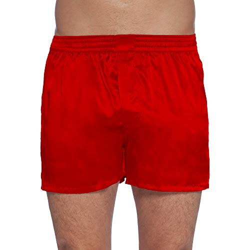 (Intimo Men's Classic Silk Boxers, Red, Small)