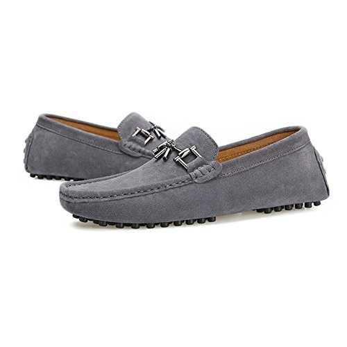 Boat Suede Driving Loafers with Moccasins Cricket Genuine Studs Decor Shoes Sole Gray Leather Metal Men's TAgXqUq
