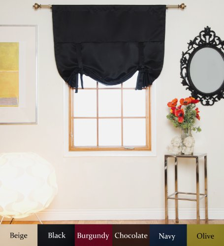 Black Rod Pocket Thermal Insulated Blackout Tie Up Shade Curtain, 46 Inch Wide by 64 Inch Long Panel
