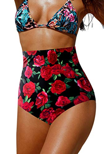 Upopby Women's High Waisted Swimsuit Bikini Bottoms Tummy Control Tankini Bottoms Swim Shorts Floral Red L