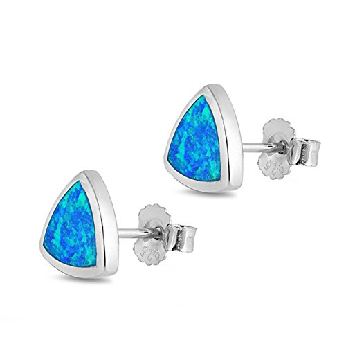 Lab Created Blue Opal Trillion Cut .925 Sterling Silver Earrings (Cut Lab Trillion)