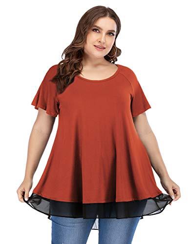 LARACE Women Tunic Tops for Leggings Chiffon T-Shirt Plus Size Short Sleeves Flowy Shirt