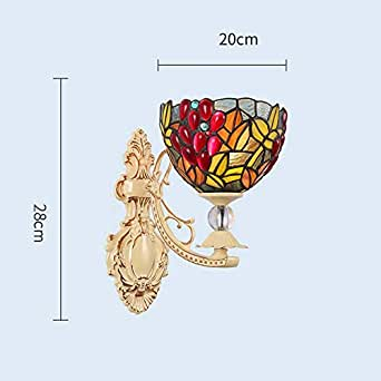8 Inches Tiffany Style Wall Sconces Light, European Pastoral Stained Glass Rose Wall Lamp for Bedroom Living Room Aisle Corridor, LED Bathroom Mirror Headlight, Max 40W,I