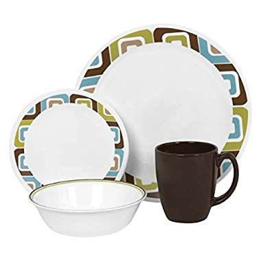 Corelle Livingware 16-Piece Dinnerware Set, Squared, Service for 4